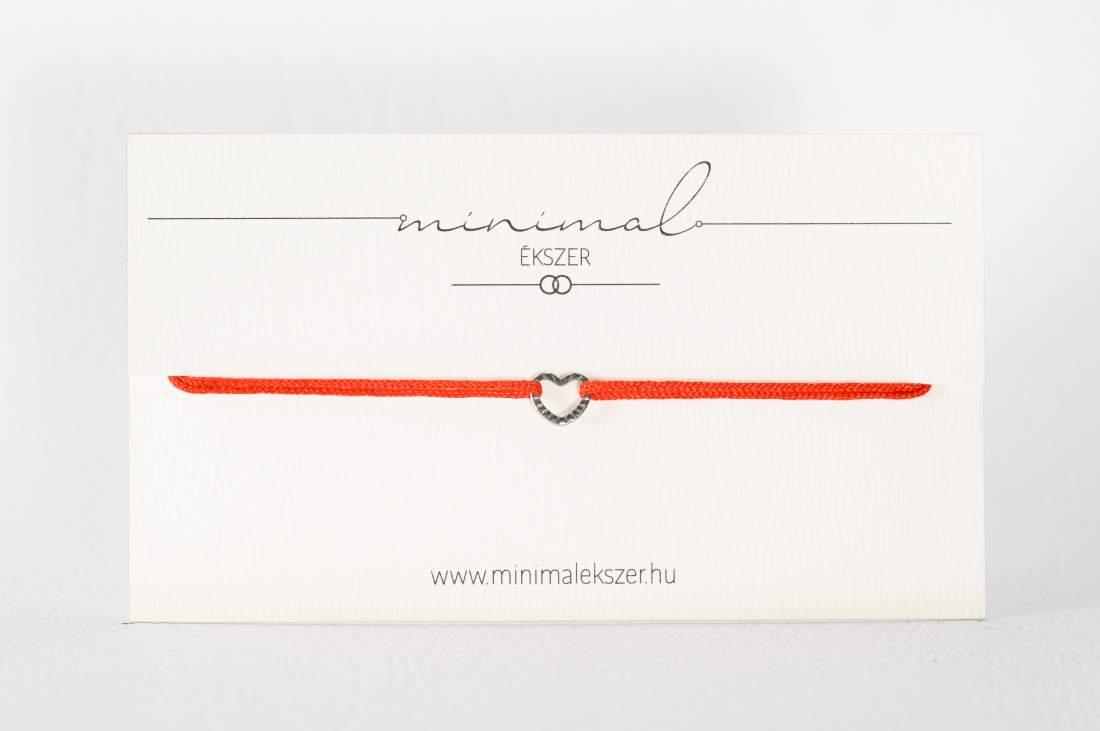 Mini szív medálos zsinór karkötő